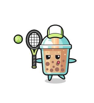 Personagem de desenho animado do chá da bolha como jogador de tênis, design de estilo fofo para camiseta, adesivo, elemento de logotipo