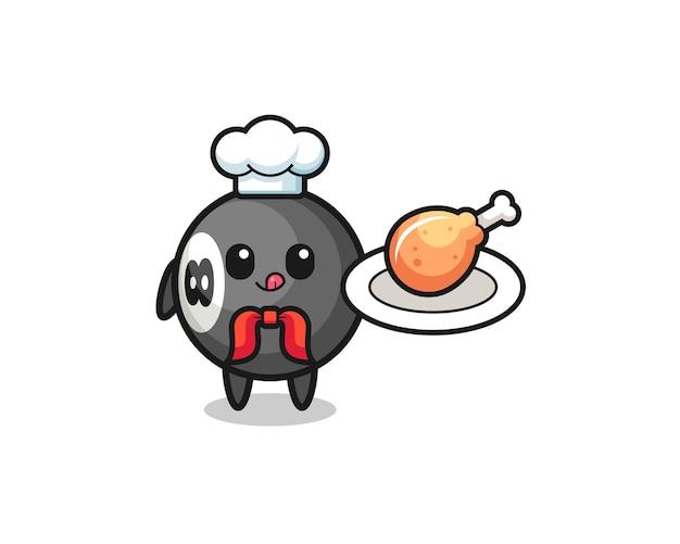 Personagem de desenho animado do chef de frango frito de bilhar, design bonito