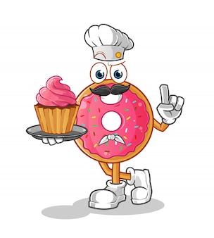 Personagem de desenho animado do chef donut
