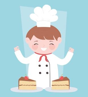 Personagem de desenho animado do chef masculino com fatias de bolos no prato