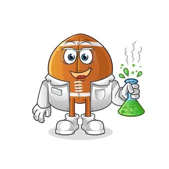 Personagem de desenho animado do cientista da bola de rugby