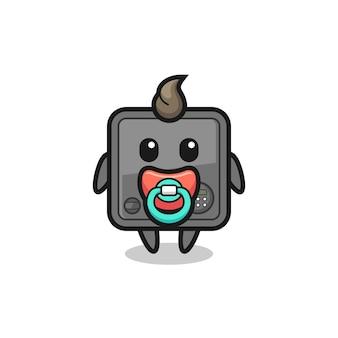 Personagem de desenho animado do cofre do bebê com chupeta, design de estilo fofo para camiseta, adesivo, elemento de logotipo