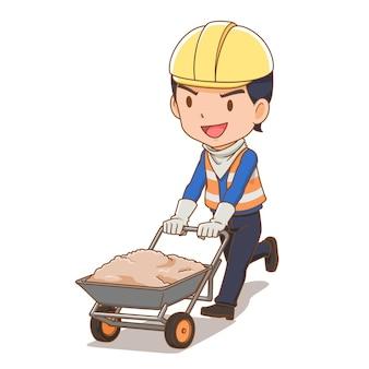 Personagem de desenho animado do construtor com carrinho de mão duplo