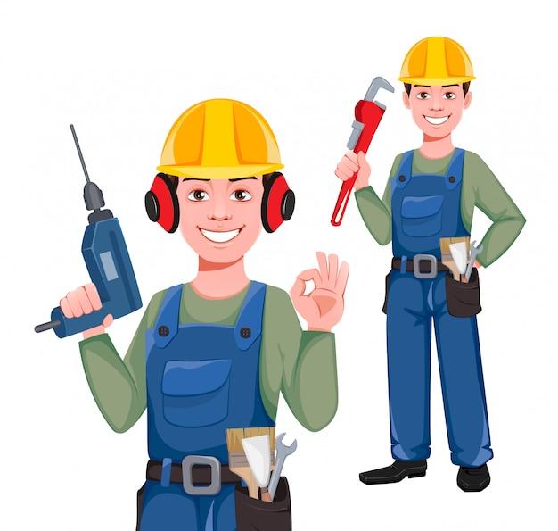 Personagem de desenho animado do construtor, conjunto de duas poses