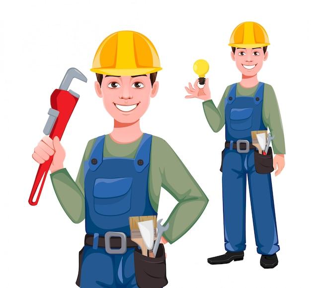 Personagem de desenho animado do construtor, conjunto de duas poses.