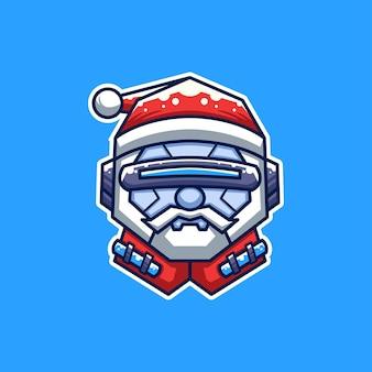 Personagem de desenho animado do cyborg santa creative christmas