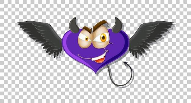Personagem de desenho animado do demônio com expressão facial em fundo transparente