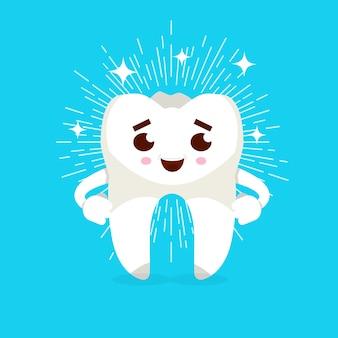 Personagem de desenho animado do dente a sorrir. conceito de prevenção de cárie. ilustração vetorial
