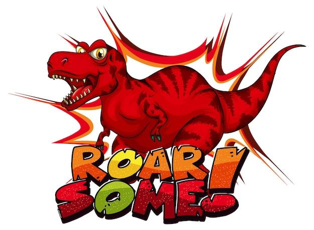 Personagem de desenho animado do dinossauro tyrannosaurus rex com o banner da fonte dino mais fofo