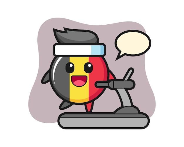 Personagem de desenho animado do distintivo da bandeira da bélgica caminhando na esteira