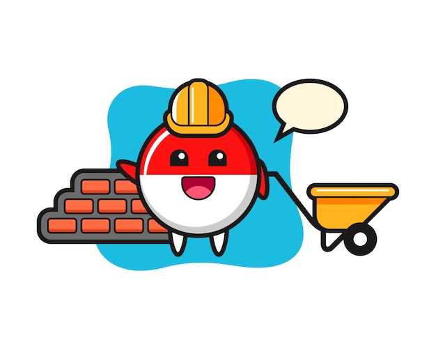 Personagem de desenho animado do distintivo da bandeira da indonésia como construtor