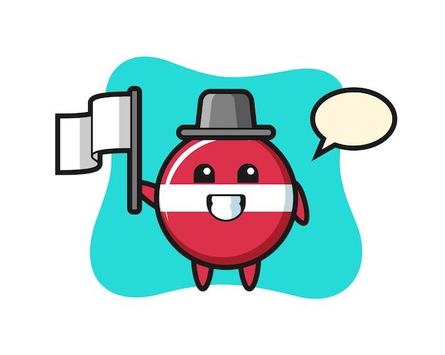 Personagem de desenho animado do distintivo da bandeira da letônia segurando uma bandeira, design de estilo fofo para camiseta, adesivo, elemento de logotipo