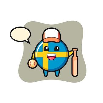 Personagem de desenho animado do distintivo da bandeira da suécia como jogador de beisebol, design de estilo fofo para camiseta, adesivo, elemento de logotipo