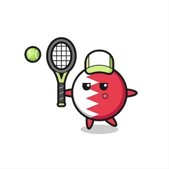 Personagem de desenho animado do distintivo da bandeira do bahrein como jogador de tênis, design de estilo fofo para camiseta, adesivo, elemento de logotipo