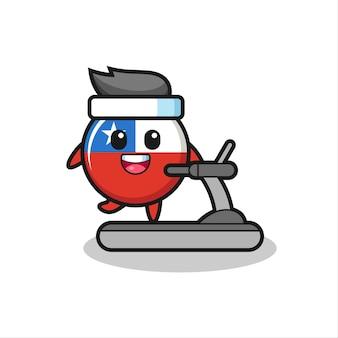 Personagem de desenho animado do distintivo da bandeira do chile caminhando na esteira, design de estilo fofo para camiseta, adesivo, elemento de logotipo