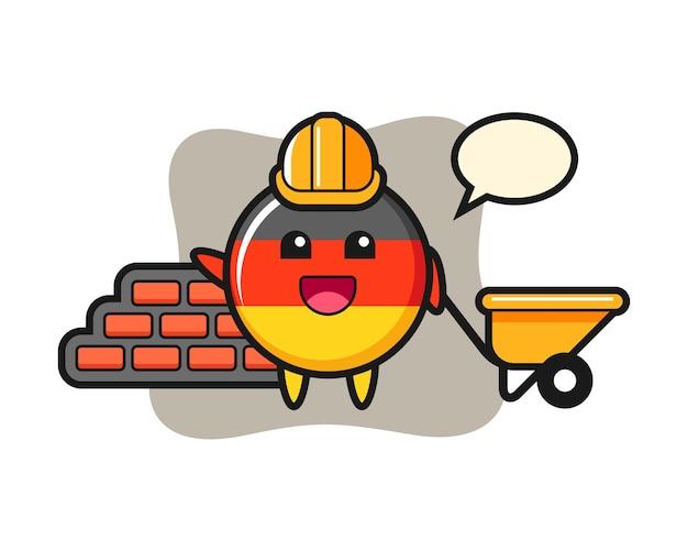 Personagem de desenho animado do emblema da bandeira da alemanha como construtor