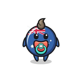 Personagem de desenho animado do emblema da bandeira da austrália do bebê com chupeta, design de estilo fofo para camiseta, adesivo, elemento de logotipo