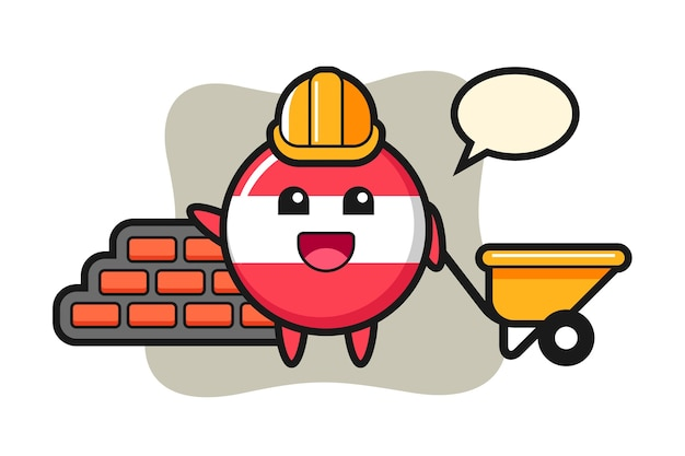 Personagem de desenho animado do emblema da bandeira da áustria como construtor
