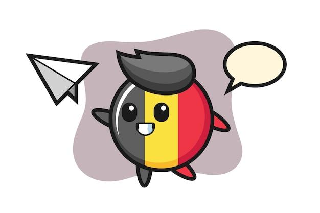 Personagem de desenho animado do emblema da bandeira da bélgica jogando avião de papel