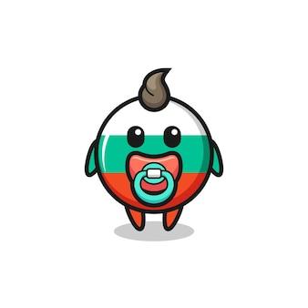 Personagem de desenho animado do emblema da bandeira da bulgária com chupeta, design de estilo fofo para camiseta, adesivo, elemento de logotipo