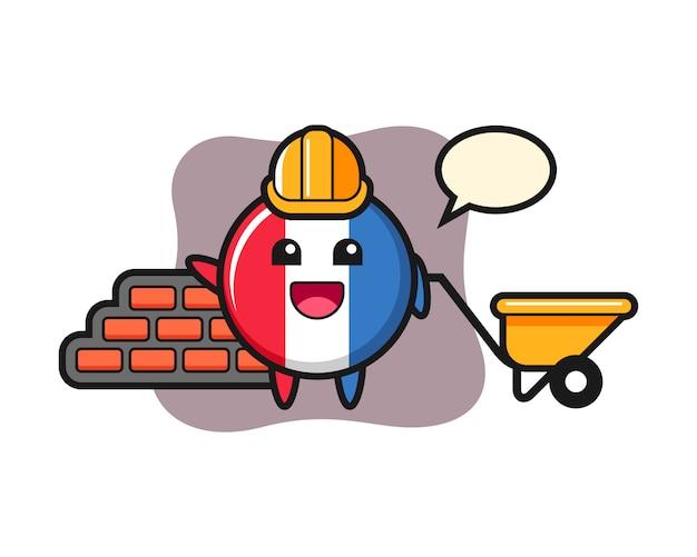 Personagem de desenho animado do emblema da bandeira da frança como construtor