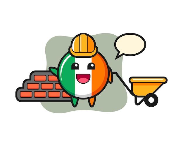 Personagem de desenho animado do emblema da bandeira da irlanda como construtor