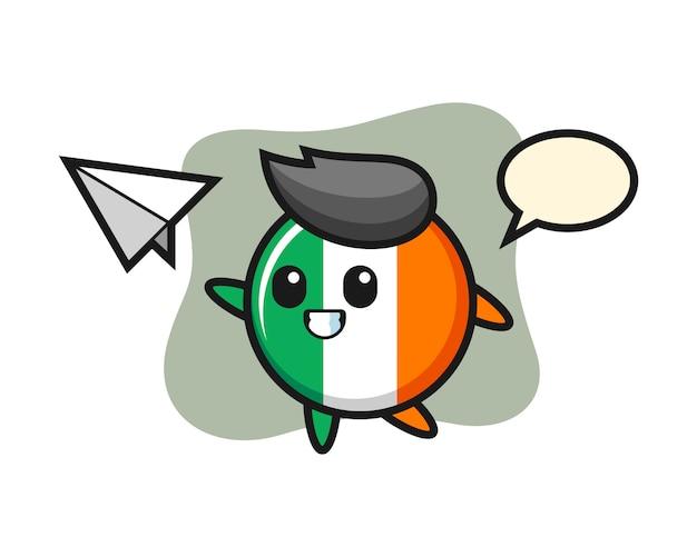 Personagem de desenho animado do emblema da bandeira da irlanda jogando avião de papel