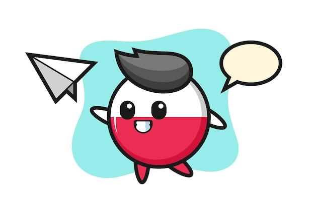 Personagem de desenho animado do emblema da bandeira da polônia jogando avião de papel