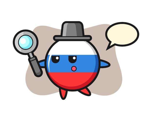 Personagem de desenho animado do emblema da bandeira da rússia pesquisando com uma lupa, design de estilo fofo
