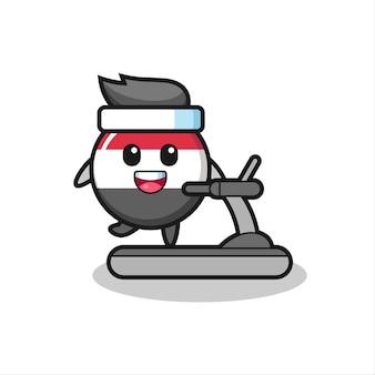 Personagem de desenho animado do emblema da bandeira do iêmen caminhando na esteira, design de estilo fofo para camiseta, adesivo, elemento de logotipo
