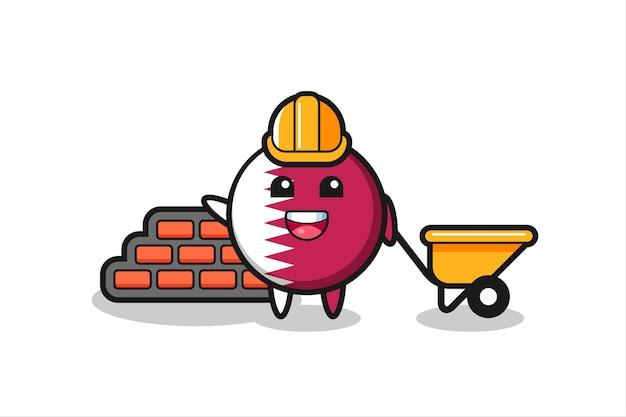 Personagem de desenho animado do emblema da bandeira do qatar como construtor, design de estilo fofo para camiseta, adesivo, elemento de logotipo