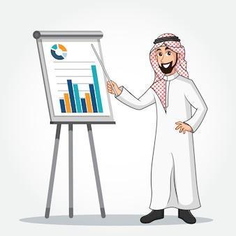 Personagem de desenho animado do empresário árabe em roupas tradicionais, fazendo uma apresentação isolada