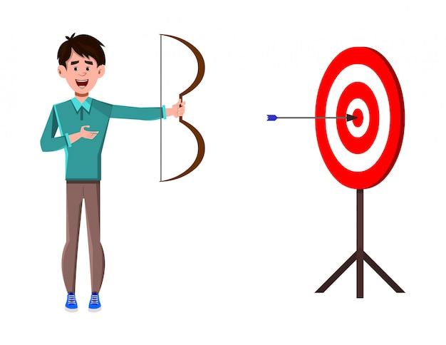 Personagem de desenho animado do empresário arqueando na meta de lucro do negócio