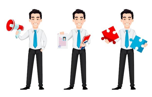 Personagem de desenho animado do empresário bonitão