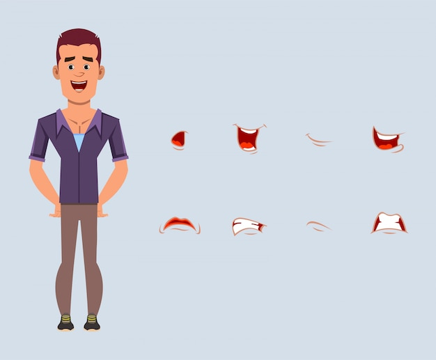 Personagem de desenho animado do empresário casual com conjunto de expressões faciais diferentes. emoções faciais diferentes para animação personalizada