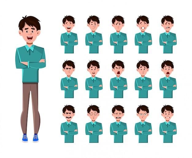 Personagem de desenho animado do empresário com conjunto de expressões faciais diferentes.