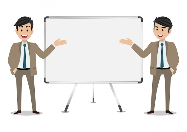 Personagem de desenho animado do empresário, conjunto de duas poses