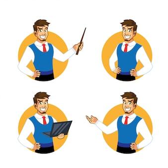Personagem de desenho animado do empresário divertido mascote