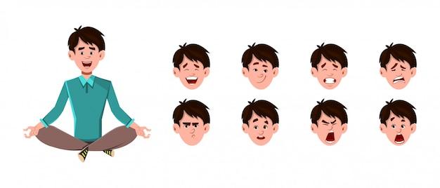 Personagem de desenho animado do empresário fazendo ioga ou meditação relaxada.