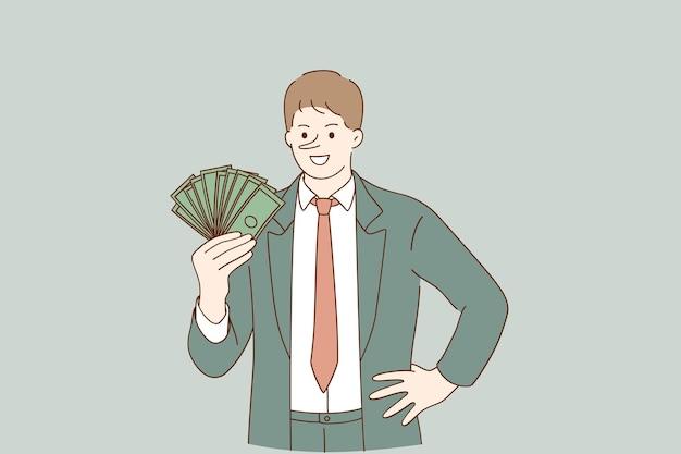 Personagem de desenho animado do empresário mentiroso sorridente em pé segurando uma pilha de dólares