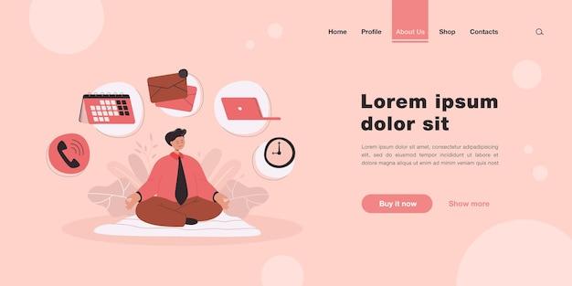 Personagem de desenho animado do empresário praticando ioga ou meditação na página inicial em estilo simples