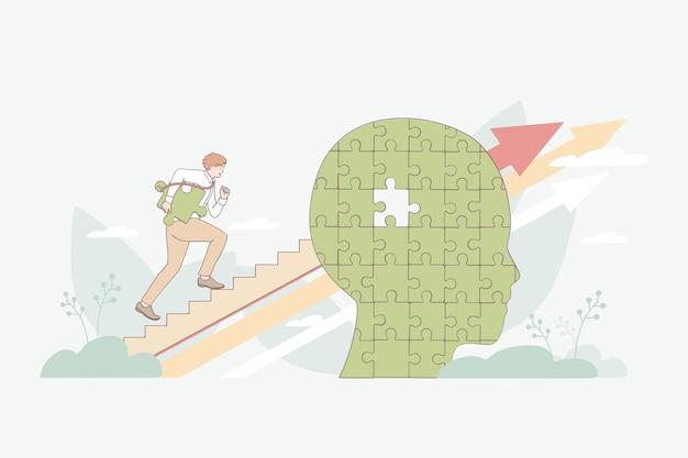 Personagem de desenho animado do empresário subindo escada através do cérebro humano com uma peça bagunçada para a frente