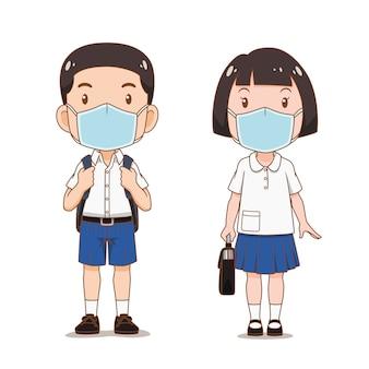 Personagem de desenho animado do estudante de menino e menina usando máscara de higiene.