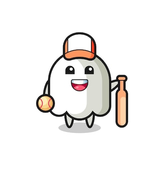 Personagem de desenho animado do fantasma como um jogador de beisebol, design de estilo fofo para camiseta, adesivo, elemento de logotipo