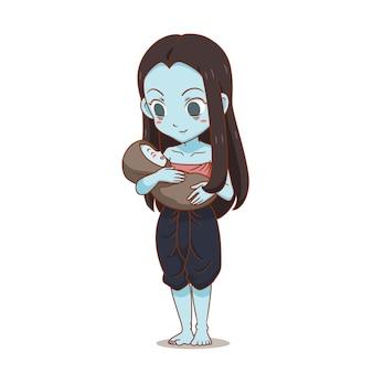Personagem de desenho animado do fantasma tailandês feminino, carregando uma criança