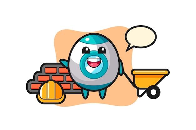 Personagem de desenho animado do foguete como um construtor, design de estilo fofo para camiseta, adesivo, elemento de logotipo