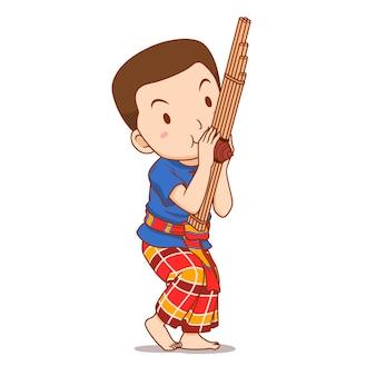 Personagem de desenho animado do garoto tocando instrumento khaen.