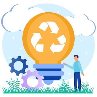 Personagem de desenho animado do gráfico vetorial de ilustração de ideias de reciclagem