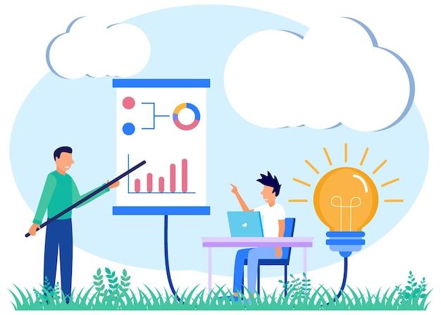 Personagem de desenho animado do gráfico vetorial de mentoria de tutores de negócios