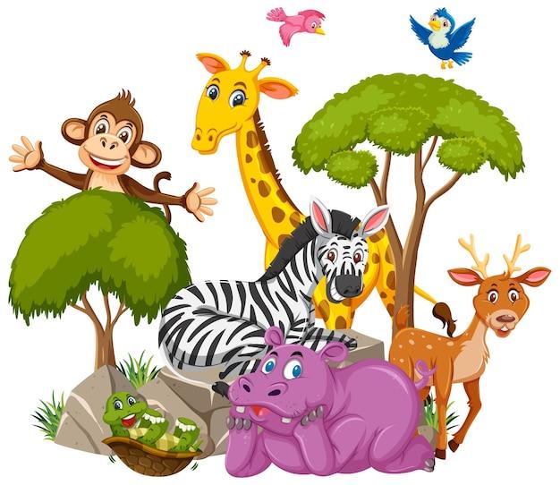 Personagem de desenho animado do grupo de animais selvagens em fundo branco